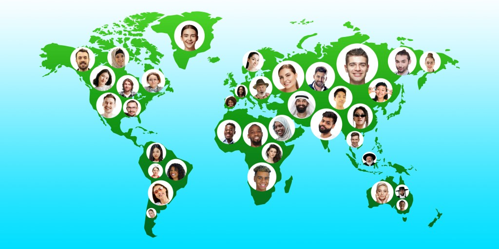 Multilingual World global cartography - Earth international concept, connecting people all around the world