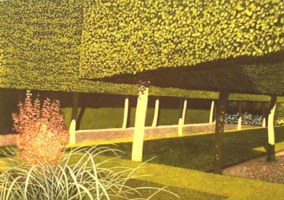 Norman Stevens - The Stilt Garden 1981  Etching, aquatint