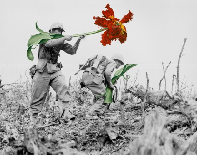 Soldiers and flower art