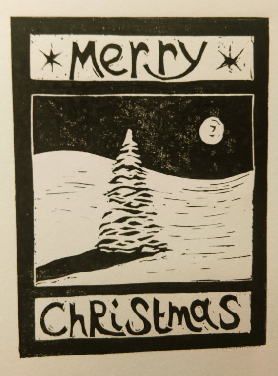 Christmas card lino print