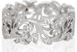 Kojis White Gold Diamond Floral Ring at Liberty London