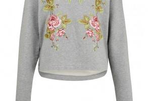 Alexander McQueen Grey Floral Embroidered Sweatshirt