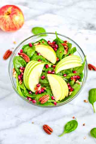 Picture of sweet apple salad with ingredients as listed below.