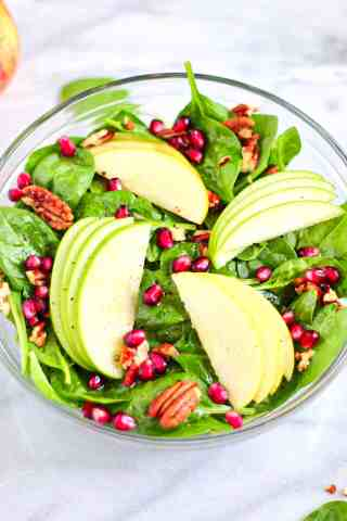 Picture of sweet apple salad with listed ingredients.