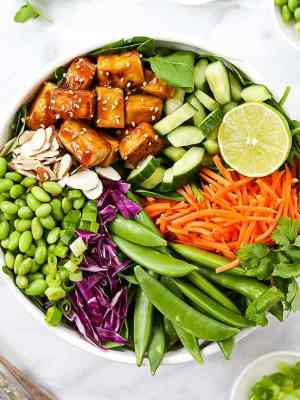 Picture of a white bowl holding a sesame tofu salad with lettuce, tofu, edamame, almonds, cucumbers, carrots, snap peas, and red cabbage. Garnished with sesame seeds, lime, and cilantro.