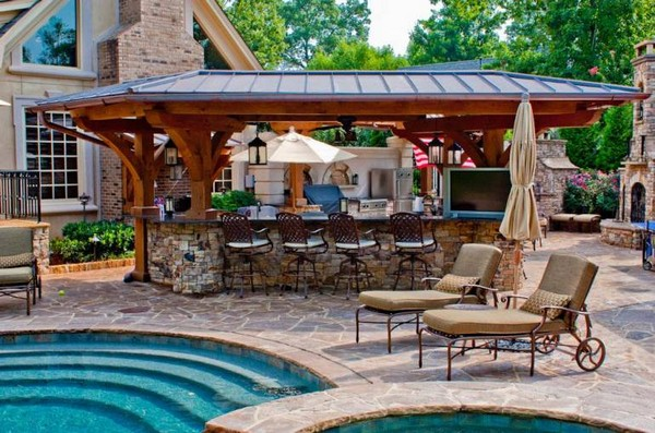 outside kitchen designs glad trash bags 31 amazing outdoor ideas planted well with pool