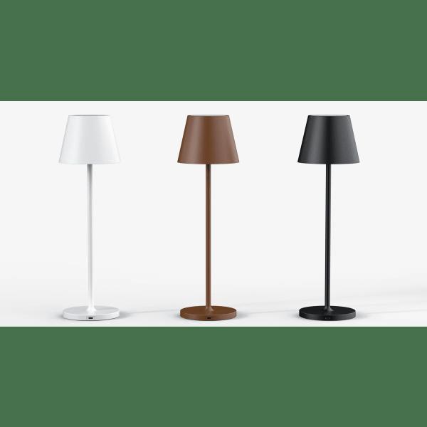 Bordlamper med batteri i 3 farver, sort, hvid, brun