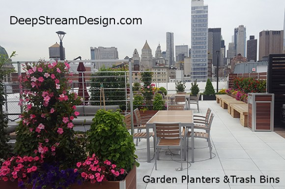 Using DeepStream's large wood garden planters for privacy, and matching wood trash bins, these owners have made a cozy Manhattan rooftop patio that will endure for decades.
