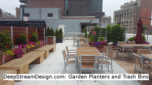 Using DeepStream's large wood garden planters with privacy screen, and matching wood trash bins, these owners have made a cozy Manhattan rooftop patio that will endure for decades.