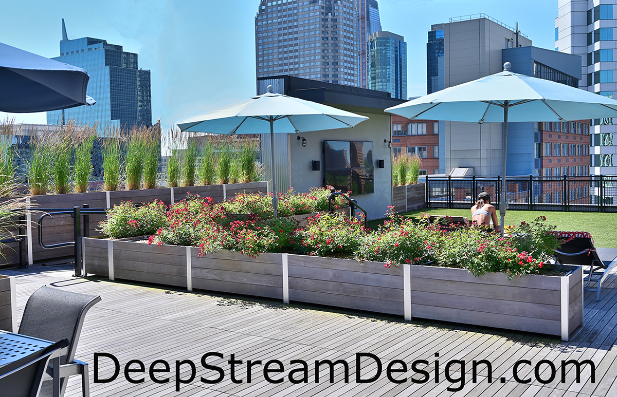 DeepStream large commercial wood planter