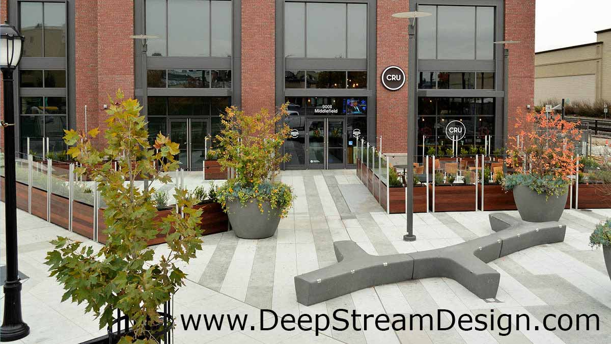 DeepStream Commercial restaurant planter with glass screen wall windbreaks create a fine dining experience adding social distancing space together on a civic plaza