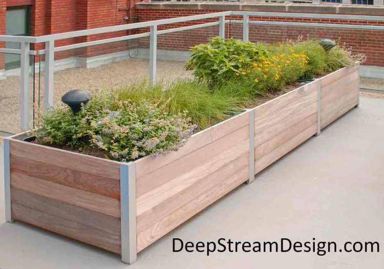 Click for more details on DeepStream Designs lightweight, cost effective, multi-section planters with plastic liner and Lifetime Structural Warranty