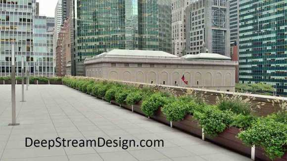 DeepStream Designs lightweight complete modular multi-section planter system with maintenance free recycled plastic lumber, installs quickly, reduces maintenance labor saving and lasts for decades