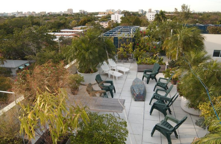 Rooftop planters shade a building in Miami preventing it from adding to the urban heat island