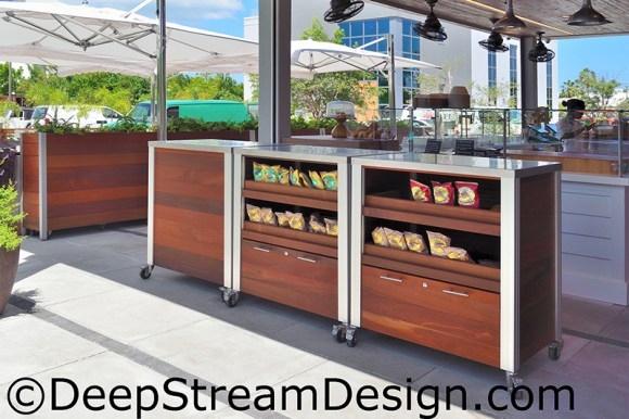 Click for more info on Custom Restaurant Fixtures exterior grade cabinetry with drawers and shelves on casters.