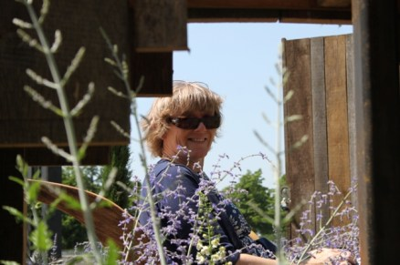 Gill enjoys the 'Room with a View' garden.