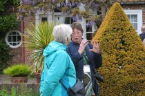 Animated discussions at George Smith's garden