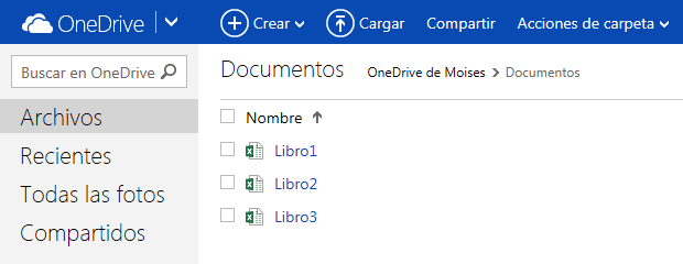 Acciones para archivos de Excel online gratis