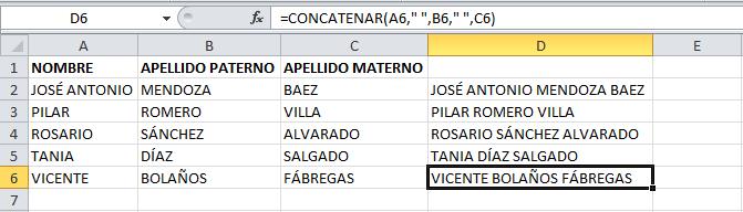 Resultado de aplicar la función concatenar con Excel
