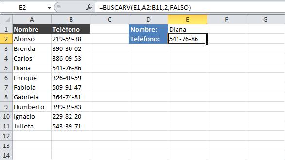 Resultado función BUSCARV