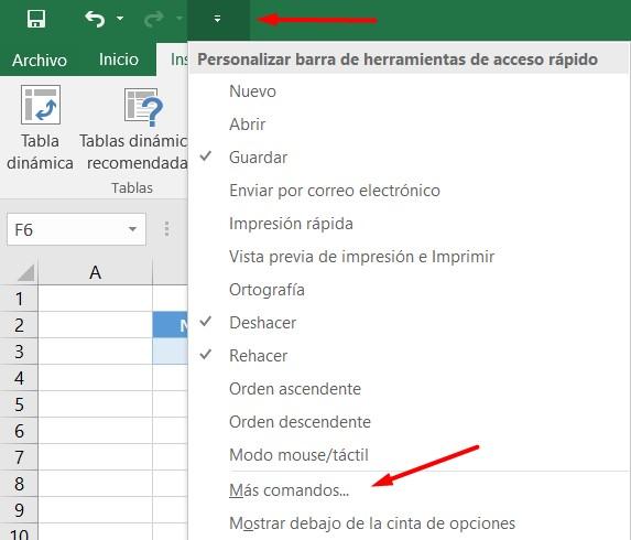 Más comandos en Excel para seleccionar el formulario