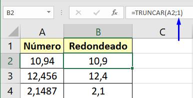 Función truncar con un decimal en Excel