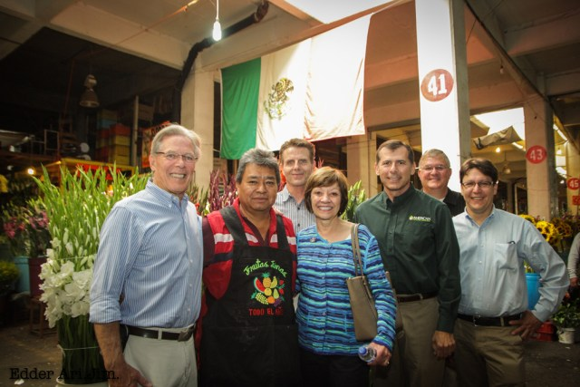 Members of the California agricultural delegation in Mexico City. From left,  Craig McNamara, State Board President; Felipe Chavez, Mexico City wholesaler; Chris Rosander, Raisin Administrative Committee; CDFA Secretary Karen Ross ; Richard Matoian, American Pistachio Growers; Bryce Lundberg, State Board; and Jake Lewin, California Certified Organic Famers.