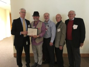 From left: DPR Director Brian Leahy presented the award to four Pink Bollworm Program representatives (all retired), Jim Rudig and Pat Akers from CDFA, Bob Staten from USDA, and Bob Roberson from CDFA.