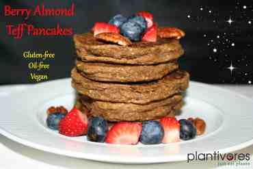 Berry Almond Teff Pancakes (GF, Oil-free, Vegan)