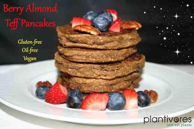 Berry Almond Pancakes (gf, oil-free, vegan)