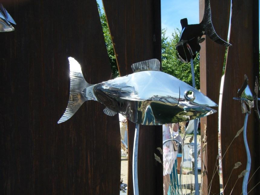 stainless steel fish - outdoor garden art
