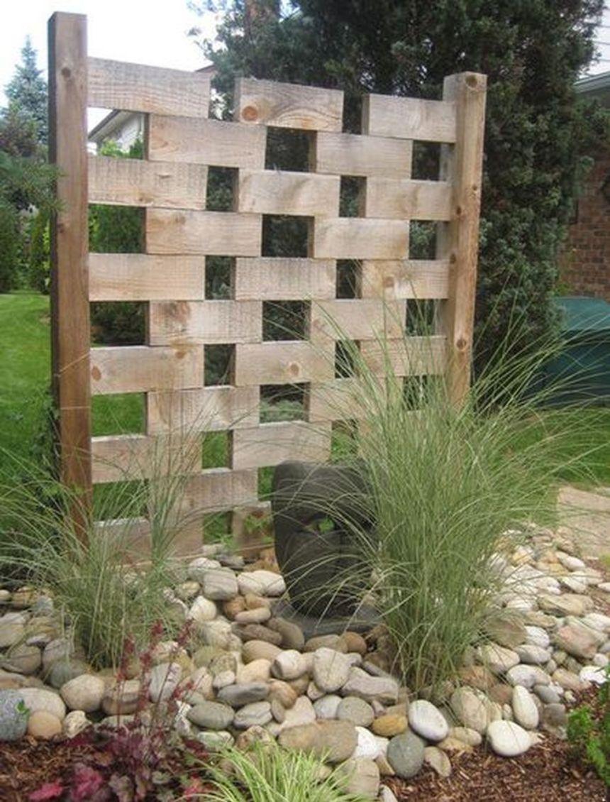 Simple elegant block wood garden screen