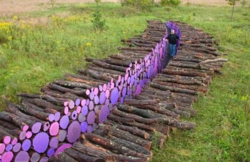 path through logs with paintedn ends