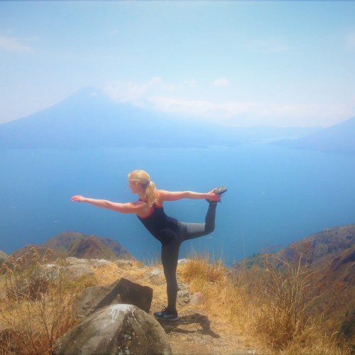 Heart Opening Dancer's Pose at Lake Atitlan, Guatemala March 2018