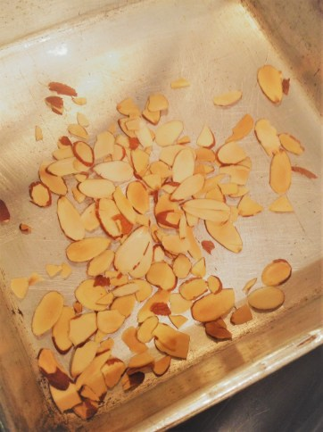 Toast the almonds a few minutes, until golden brown, for rich, nutty flavor