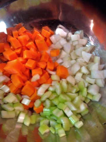 Chef's Tip: A classic mix of carrot, celery, and onion flavor the broth for this soup. You can also use parsnips, leeks, and celery root