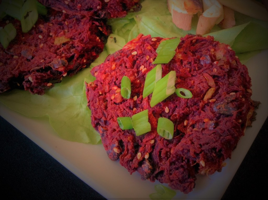 Korean Red Beet Teriyaki Veggie Burgers - Healthy, Plant-Based, Oil-Free, Gluten-Free Vegan Dinner Recipe from Plants-Rule