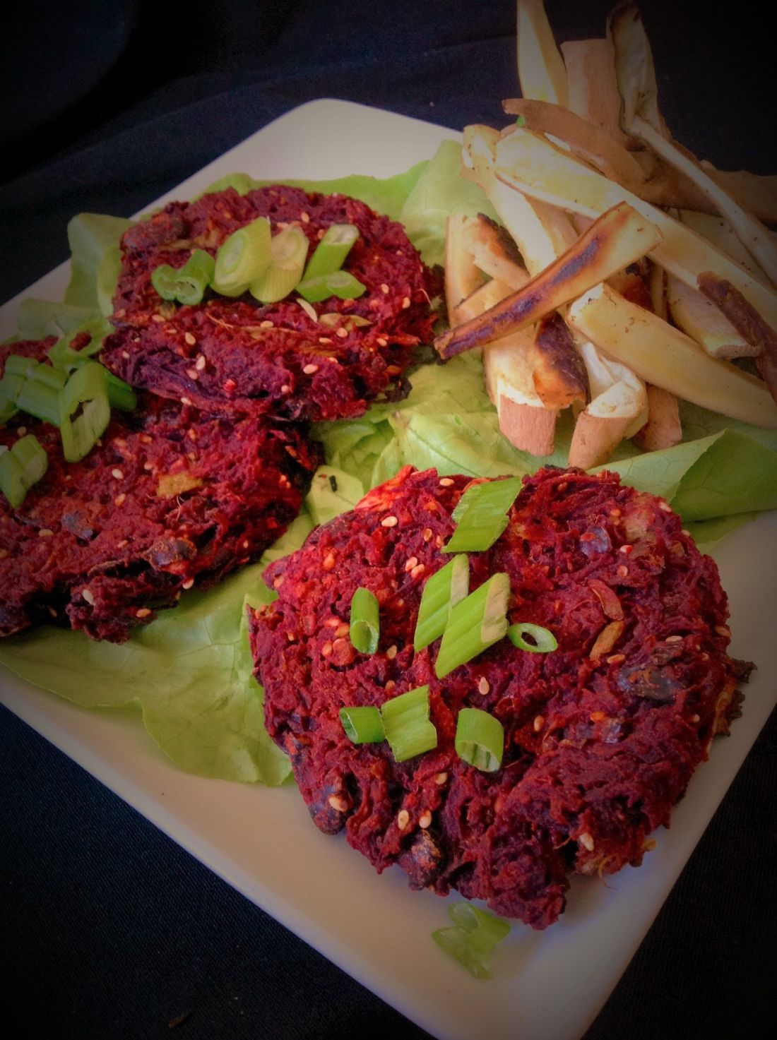Korean Red Beet Teriyaki Veggie Burgers - Healthy, Plant-Based, Oil-Free, Gluten-Free Vegan Dinner Recipe