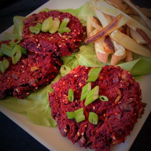Korean Red Beet Teriyaki Veggie Burgers - Healthy, Plant-Based, Oil-Free, Gluten-Free Vegan Dinner Recipe