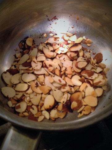 Toasting the almonds a few minutes adds deep, nutty flavor and crunchy texture