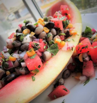 Sun and Moon Watermelon Calypso Bean Salad - Healthy, Plant-Based, Gluten-Free, Oil-Free, Vegan Recipe