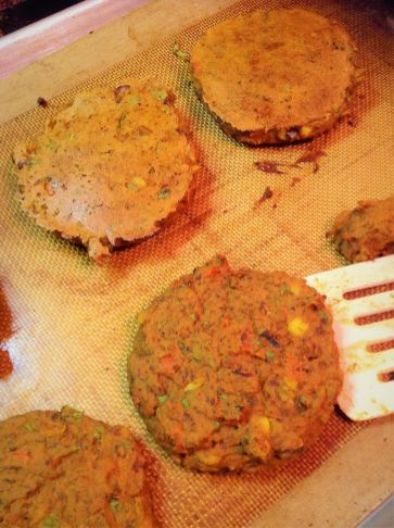 A Sil-Pat helps prevent these burgers from sticking to the pan. This is one of my favorite kitchen must-haves for healthy baking