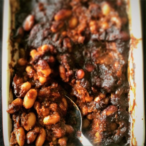 Chipotle Barbecue Baked Beans - Healthy, Gluten-Free, Oil-Free, Plant-Based Vegan Summer Picnic Recipe