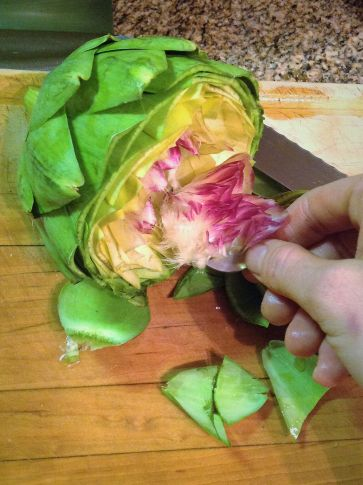 Use a small spoon to remove the thistle in the center of the artichoke. It looks pretty, but it tastes like a nasty hairball.