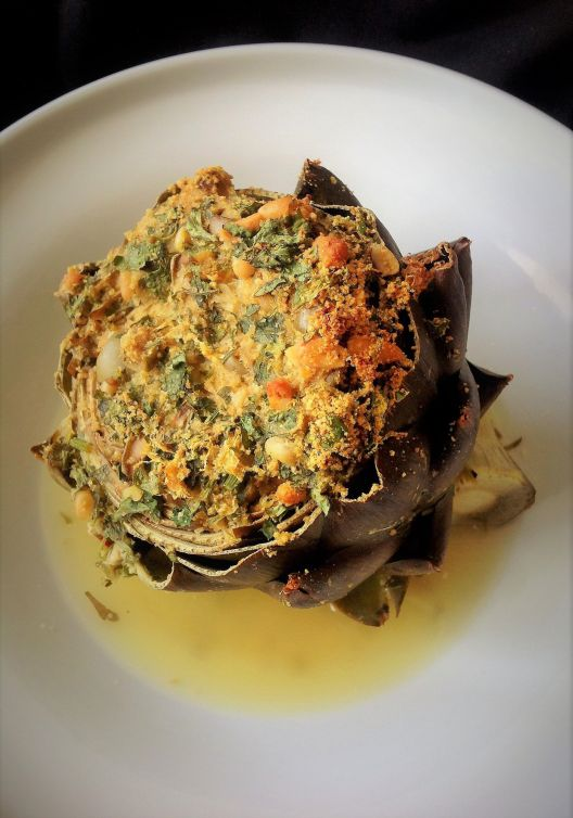 Italian Stuffed Artichokes - Healthy, Whole Grain, Oil-Free, Plant-Based, Traditional Spring, Easter, Vegan Recipe