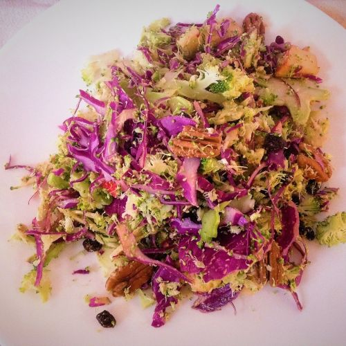 Raw Shaved Cabbage Apple Pecan Crunch Salad - Healthy, Plant-Based, Oil-Free, Gluten-Free, Raw Vegan Slaw Recipe