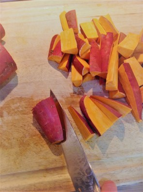 Cut the potatoes into 1-2 inch thick wedges for hearty, satisfying pieces