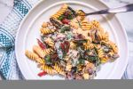 Fusilli Pasta with Chard, Mushrooms, Walnut Sauce - Healthy, Gluten-Free, Plant-Based, Oil-Free Recipe from Plants-Rule