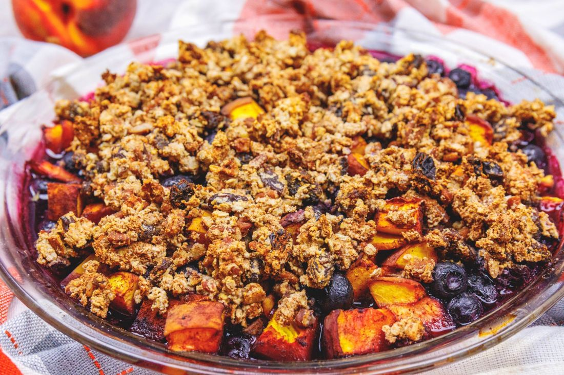 Peach, Plum, Blueberry Crisp - Healthy, Plant-Based, Gluten-Free, No Sugar Added, Oil-Free Vegan Summer Dessert Recipe