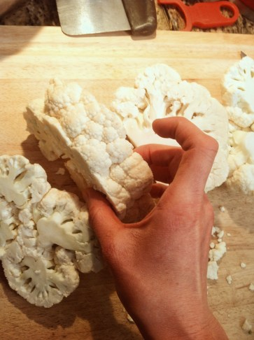 Slice cauliflower into 1-inch steaks. Keep the core intact so that the pieces hold together